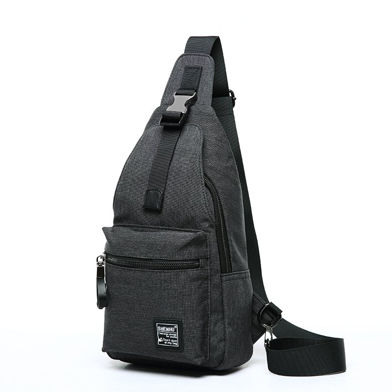 Sturdy Black Oxford Masculine Men Small Crossbody Shoulder Chest Bag Trend Monogrammed Anti Theft Casual Travel Hiking Sling Backpack