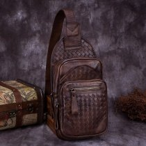 Chocolate Brown Distressed Waxed Genuine Cowhide Leather Crossbody Shoulder Chest Bag Vintage Braided Men Casual Travel Sling Backpack