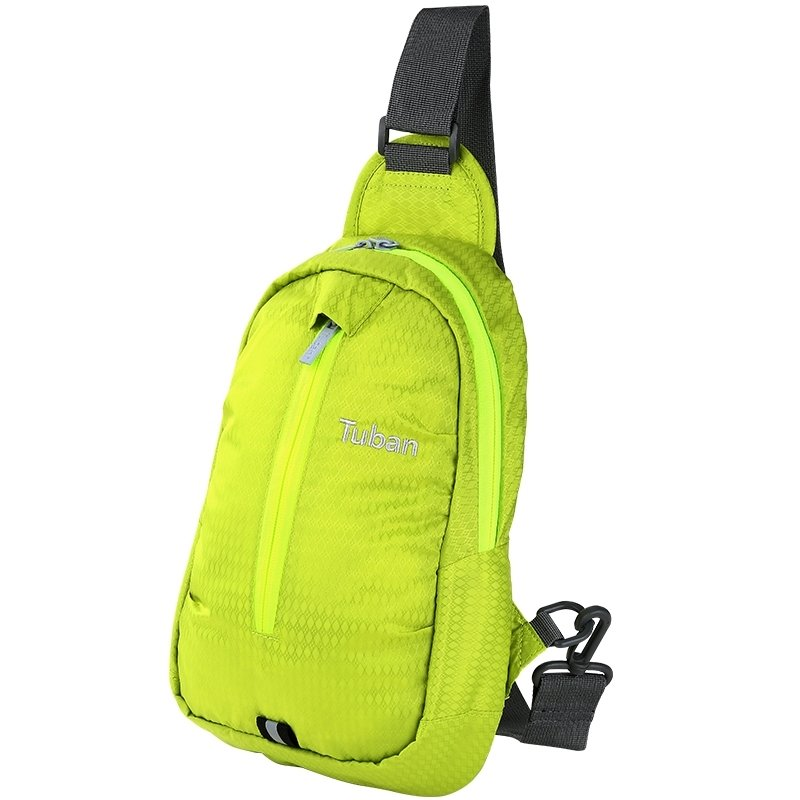 Yellow-green Oxford Boys Small Crossbody Shoulder Chest Bag Embroidered Monogrammed Argyle Pattern Casual Travel Hiking Sling Backpack