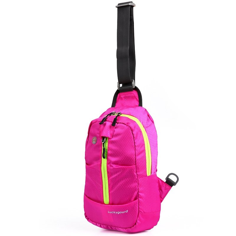 Lightweight Hot Pink Oxford Girls Small Crossbody Shoulder Chest Bag Hipster Grid Plaid Print Travel Hiking Cycling Sling Backpack