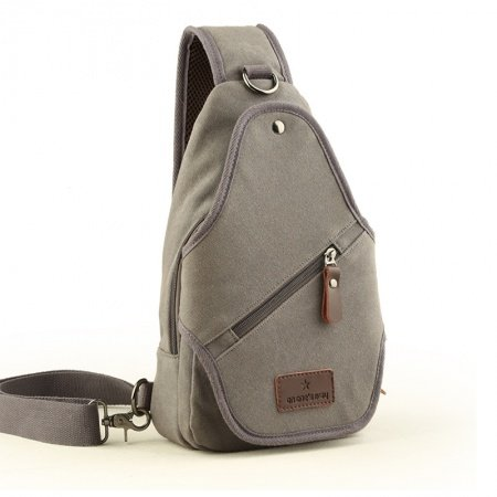 Vintage Light Blue Waxed Canvas Men Crossbody Shoulder Chest Bag Top Fashion Sewing Pattern Studded Travel Hiking Cycling Sling Backpack