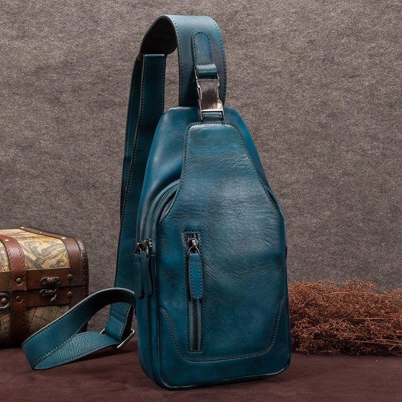 Teal Distressed Waxed Cowhide Leather Men Crossbody Shoulder Chest Bag Vintage Anti Theft Casual Travel Hiking Cycling Sling Backpack