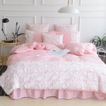 Sophisticated Elegant Blush Pink and White Applique Floral Vintage Shabby Chic Victorian Lace Girls Twin, Full, Queen Size Bedding Sets
