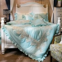 Tiffany Blue and Gold Tribal Print Vintage Victorian Lace Ruched Simply Shabby Chic Elegant Feminine Full, Queen Size Bedding Sets