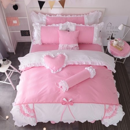 Pastel Pink and White Romantic Scalloped Ruffle Lace Bow Sophisticated Elegant Girls Princess Twin, Full, Queen Size Bedding Sets
