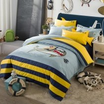 Ocean Themed Royal Blue Yellow and Light Blue Great White Shark and Rugby Stripe Print Marine Life Kids Twin, Full Size Bedding Sets