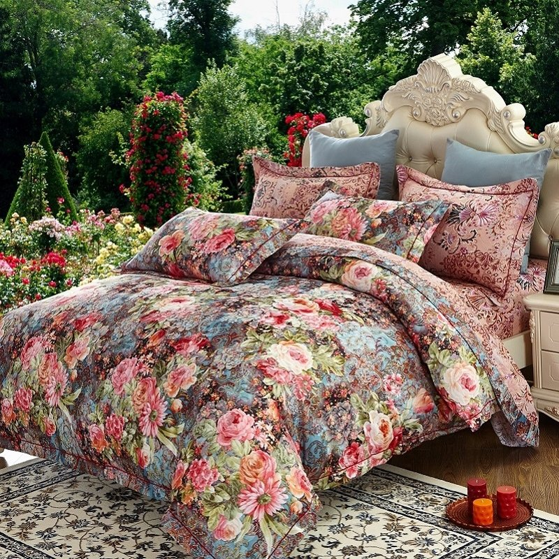 Bright Colorful Aqua Blue Red Pink and Brown French Country Chic Floral Vintage Rose Print Full, Queen Size Bedding Sets