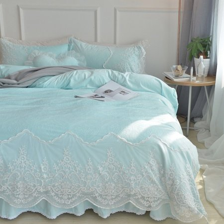 Tiffany Blue Baroque Style Tribal Vintage Victorian Lace Attached Dust Ruffle Elegant Soft Feminine Flannel Full, Queen Size Bedding Sets