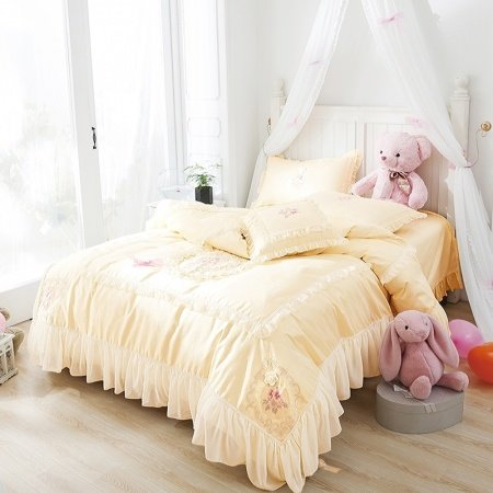 Noble Excellence Bright Yellow Applique Embroidered Floral Shabby Chic Ruffle Romantic Elegant Feminine Queen Size Bedding Sets