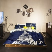 Hipster Royal Blue and White Paris Themed Eiffel Tower Print Personalized Teen Girls Boys Full Size Bedding Sets