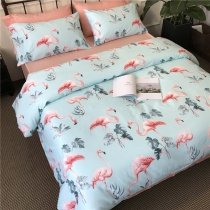 Aqua Blue Gray Pink and Coral Red Fun Flamingo Leaf Print Tropical Hawaiian Wild Animal Themed Girls Twin, Full, Queen Size Bedding Sets