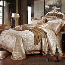 Vintage Gold Sequin Indian Pattern Bohemian Moroccan Style Luxury Jacquard Satin Full, Queen Size Bedding Sets
