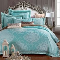 Fancy Aqua Gothic Pattern Western Style Boutique Luxury Jacquard Satin Full, Queen Size Bedding Sets