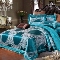 Fancy Dark Teal and White Gothic Pattern Modern Chic Western Style Luxury Jacquard Satin Full, Queen Size Bedding Sets