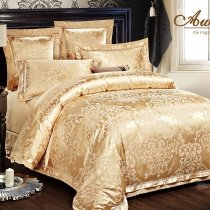 Luxury Royal Gold Indian Tribal Pattern Modern Bohemian Style Jacquard Satin Full, Queen Size Bedding Sets