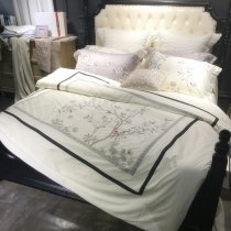 Black White and Gray Embroidered Tree Of Life Bird Border Simply Shabby Chic Noble Excellence Villa Full, Queen Size Bedding Sets