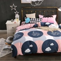 Deep Blue Gray and Pink Cloud and Polka Dot Print Twin, Full Size Bedding Sets