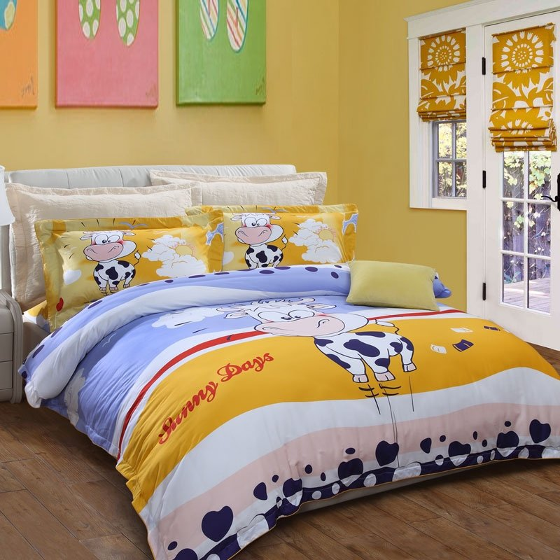 Dark Blue White Gold Red And Sky Farm Animal Themed Cow Monogrammed Cloud Heart Polka Dot Print Twin Queen Size Bedding Sets