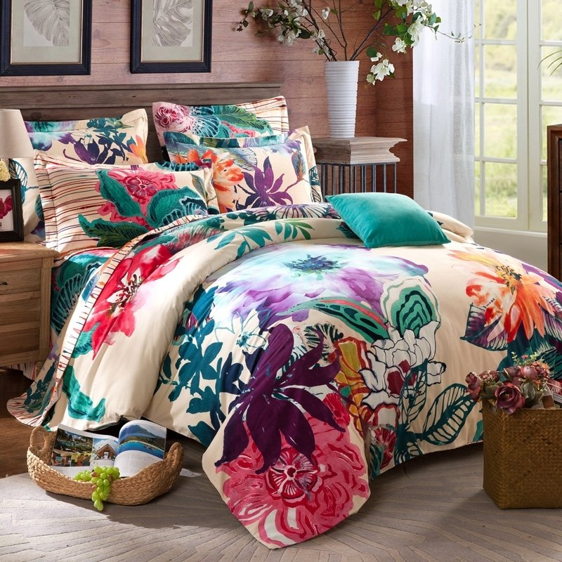 Tropical Flower Print Exotic Unique Style Full, Queen Size Bedding