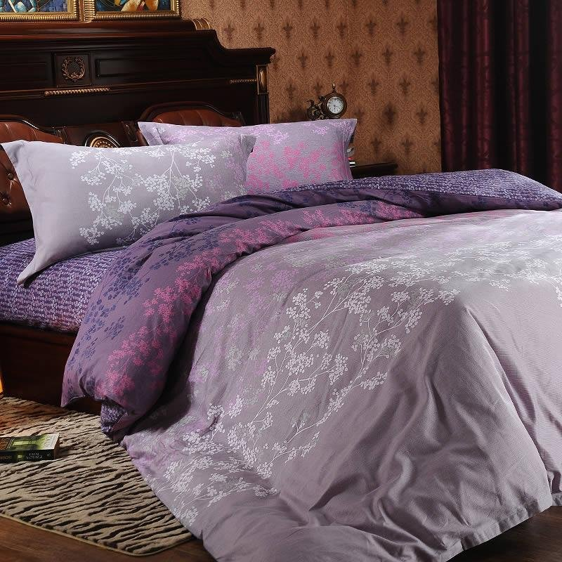 Gray White and Purple Pink Forest Scene Tree Top Print Full, Queen Size Bedding Sets