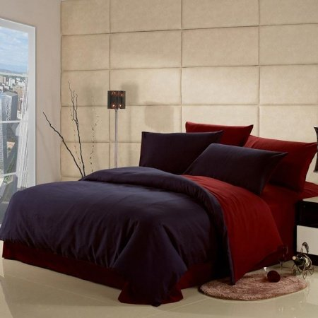 Dark Blue and Claret-red Solid Pure Color 100% Cotton Simply Modern Chic Full, Queen Size Bedding Sets