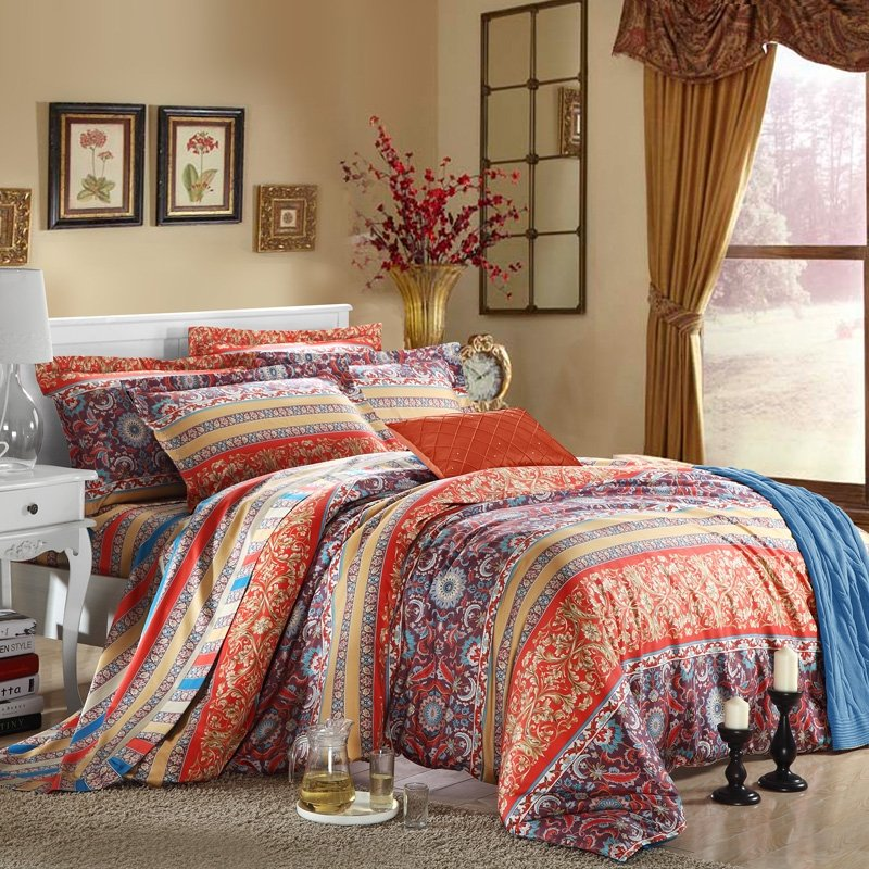 Egyptian Style Blue Bed Set