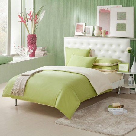 Light Pink and Mantis Green Solid Pure Color Simply Chic Full, Queen Size Kids Space Bedding Sets