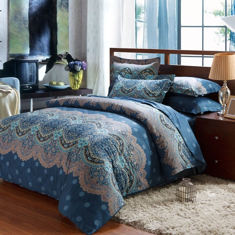 Blue and Grey Bohemian Baroque Modern Chic Western Tribal Print Unique Full, Queen Size Bedding Sets