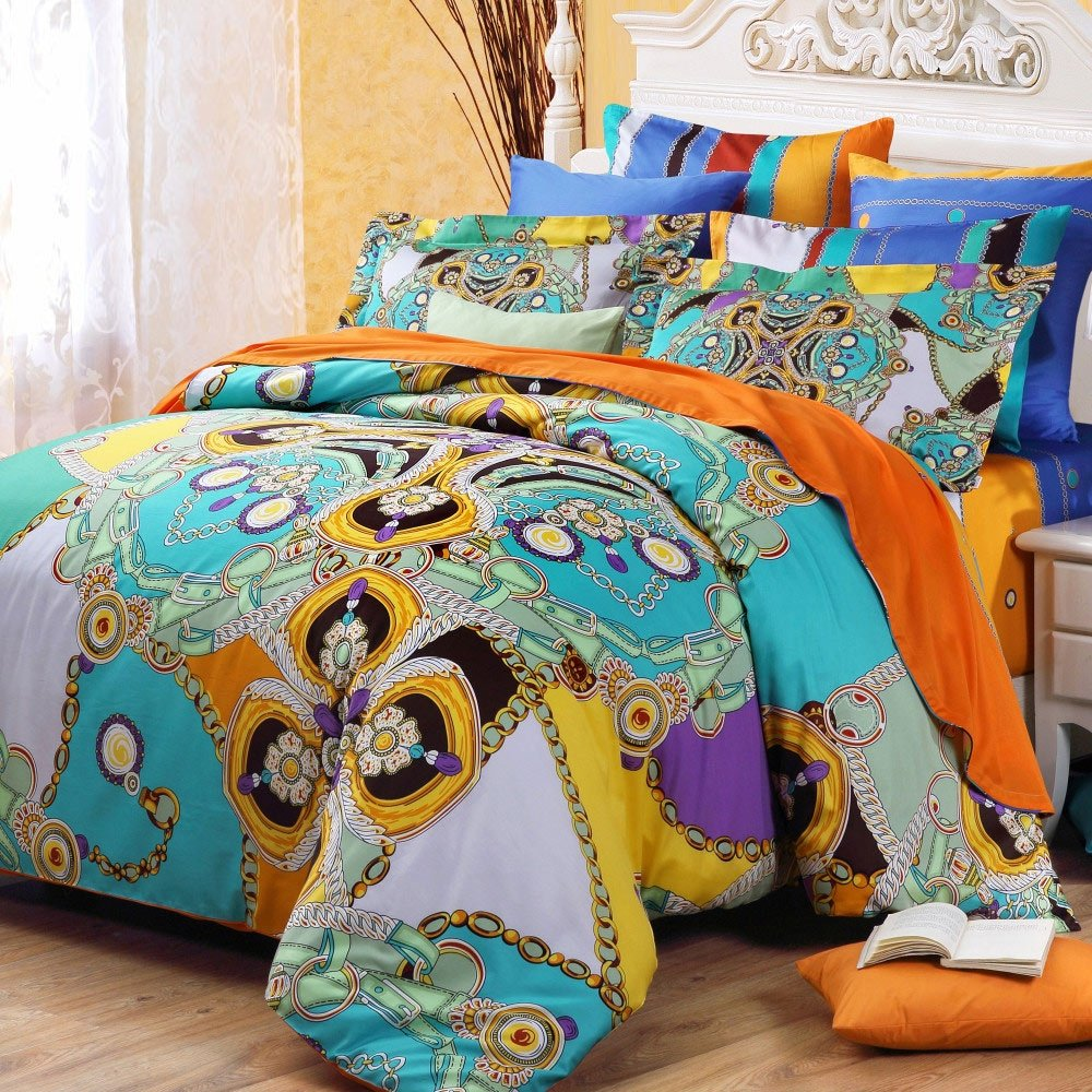 Blue and Gold Chain and Circle Print Southwestern Tribal Style Luxury 100% Cotton Full, Queen Size Bedding Sets