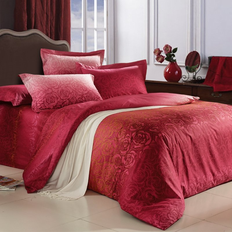 Claret-red and Gold Luxury Wedding Themed Retro Rose Pattern Print 100% Cotton Satin Full, Queen Size Bedding Sets