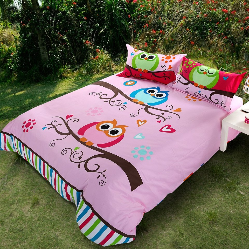 Pink and Multi-color Kids Girls Nature Night Owl Print 100% Cotton Twin, Full, Queen Size Bedding Sets