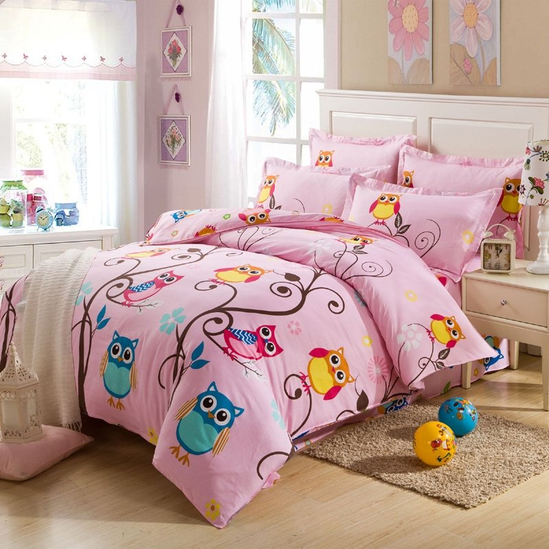 Pink and Colorful Nature Night Owl Print Jungle Animal 100% Cotton Kids and Teen Girls Twin, Full Size Bedding Sets