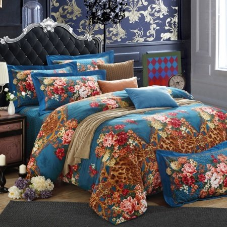 Cerulean Blue Brown and Red Animal Leopard, Cheetah Print with Garden Images Floral Design Full, Queen Size Sexy Bedding Sets