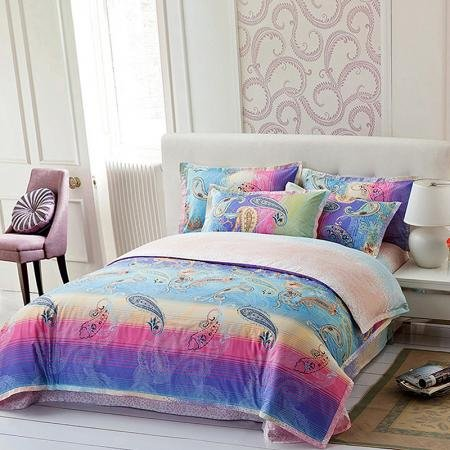 Teal Blue Purple and Pink Western Paisley and Graffiti Print Abstract Design Full, Queen Size Bedding Sets