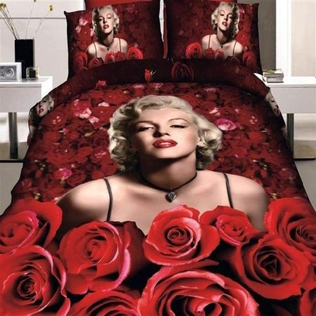 Red and Pink Sexy Marilyn Monroe Pattern with Romantic Rose Print High Fashion Elegant Full Size Wedding Bedding Sets