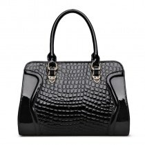 Solid Black Durable Embossed Cowhide Genuine Leather Crocodile Boston Tote American Style Casual Quilted Women Crossbody Shoulder Bag