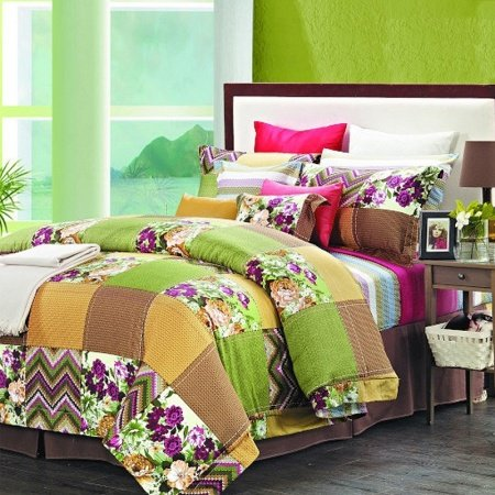 Lime Green and Orange Brown Patchwork Plaid and Flower Plant Vintage Country Chic 100% Egyptian Cotton Full, Queen Size Bedding Sets