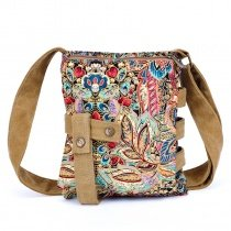 Khaki Brown Red and Cobalt Blue Vintage Floral and Bohemian Chic Indian Tribal Pattern Boutique Canvas Medium Women Crossbody Messenger Bag