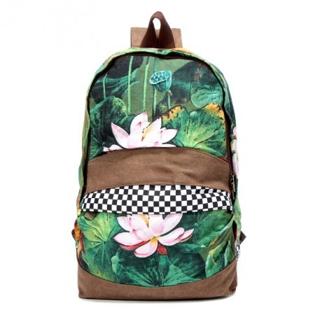 Pine Green and Russet Brown Chinese National Style Water Lily Lotus Flower Print Casual Travel Backpack Bucket Shaped School Bag