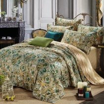Olive Green and Gold Moroccan Style Tribal Paisley Print Abstract Design Exotic Luxury 100% Egyptian Cotton Full, Queen Size Bedding Sets