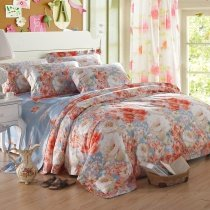 Light Blue Peach Red and White Colorful Peony Blossom Garden Oriental Style Luxury Girls 100% Egyptian Cotton Full, Queen Size Bedding Sets