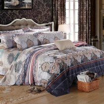 Light Gray Brown and Oxford Blue Medieval Pattern Moroccan Themed Luxury Noble Excellence 100% Egyptian Cotton Full, Queen Size Bedding Sets
