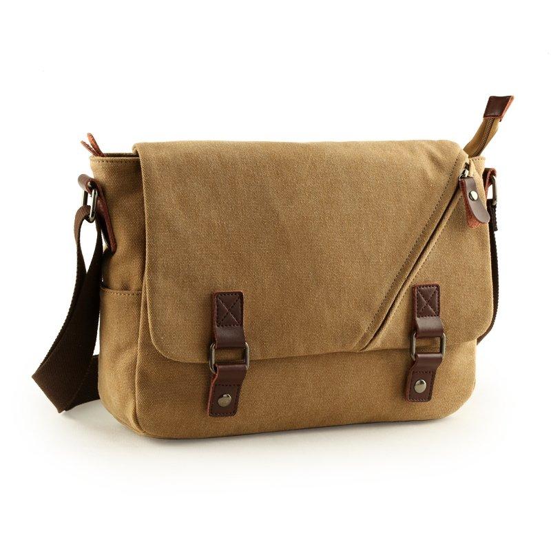 Solid Khaki Brown Canvas Casual Contracted Vogue Amazing Crossbody Bag Applique Take Cover Zipper Hasp Boys Men Medium Single Shoulder Bag