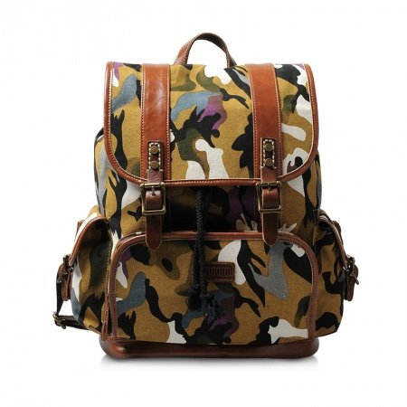 Camel Black and White Canvas Camouflage Print Preppy Satchel Backpack Casual Travel Bag Take Cover Draw String Hasp Girl Medium School Bag