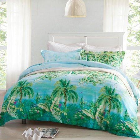 Forest Green Ocean Blue And Aqua Palm Tree Print Nautical