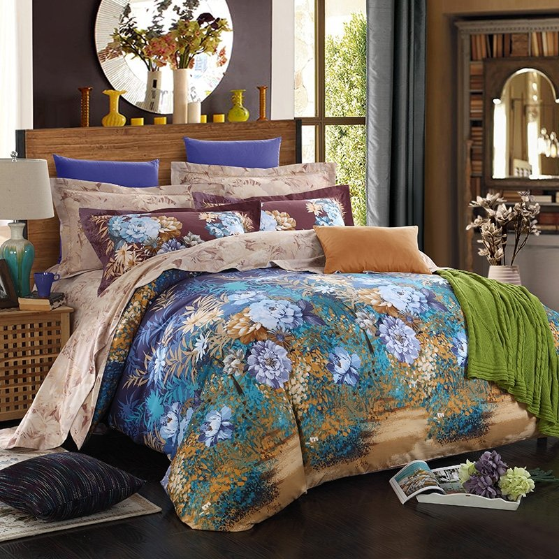 Deep Blue Sky Blue and Earth Yellow Vintage Weed Flower and Tree Autumn Scene Jungle Themed 100% Brushed Cotton Full, Queen Size Bedding Sets