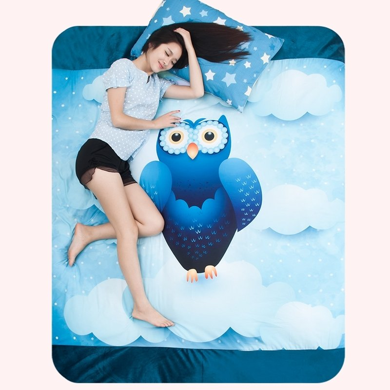 Royal Blue and Aqua Vintage Night Owl Print Cartoon Animal Personalized Flannel Girls and Boys Twin, Full, Queen Size Bedding Sets