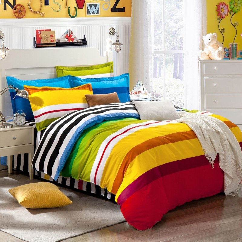 Yellow Blue and Red Colorful Rainbow Stripes Traditional and Vogue Simply Chic Boys 100% Cotton Damask Twin, Full, Queen Size Bedding Sets