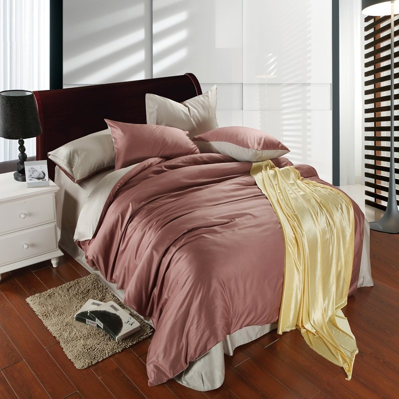 Solid Colored Coffee and Plain Colored Silver Simply Chic Noble Excellence Luxury Unique Boys 100% Tencel Full, Queen Size Bedding Sets