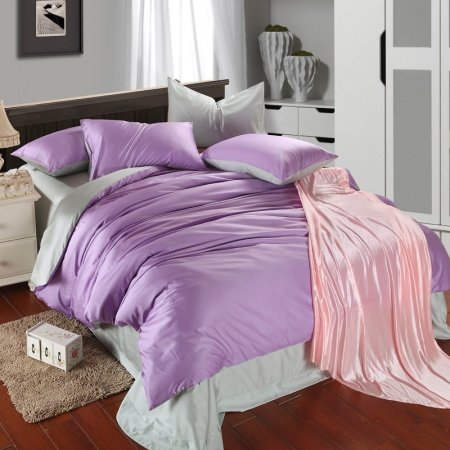 Plain Colored Light Purple and Pea Green with Solid Colored Sheet Simply Chic Simply Chic Noble 100% Tencel Full, Queen Size Bedding Sets